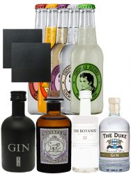 Gin Probierset 1 x Monkey 5 cl, 1 x The Duke 5 cl, 1 x Black Gin 5 cl + 1 x Botanist 5 cl + 5 x Thomas Henry Mix 0,2 Liter + 2 Schieferuntersetzer