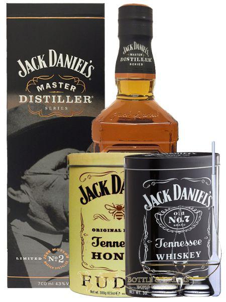 Jack Daniels Masters Distillers 0,7 Liter + 300g JD`s HONEY Fudge & 300g JD`s Whisky Malt Fudge + 2 Glencairn Gläser und Einwegpipette